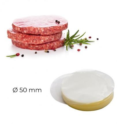 Papel redondo para mini hamburguesas 50 mm