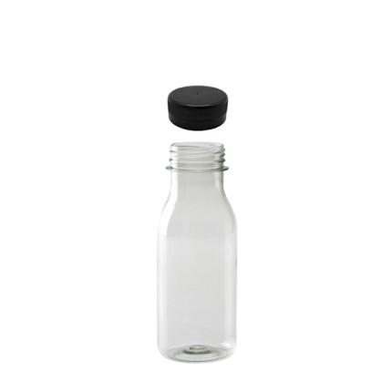 Botella-PET-transparente-reciclable-250ml.-con-tapón-negro-pre-enroscado